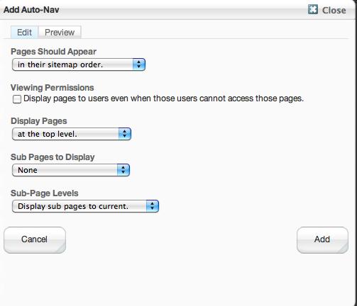 Custom Footer Menus using Auto-Nav :: Legacy Documentation